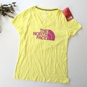 North Face V-Neck Yellow Tee Shirt
